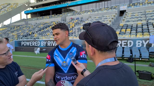 latrell mitchell speaks to the media during a new south wales blues state of origin training session at queensland country bank stadium on june 08,... - rugby sport stock videos & royalty-free footage