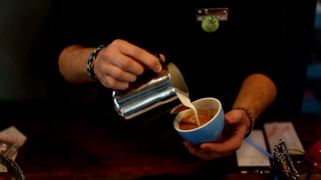 latte art coffee - hsyncoban stock videos and b-roll footage