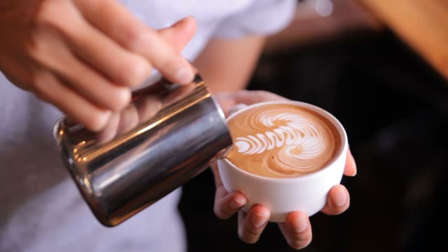 latte art making, hd - art stock videos & royalty-free footage