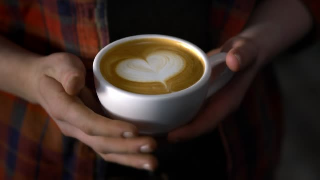 latte in a coffee shop - mug stock videos & royalty-free footage
