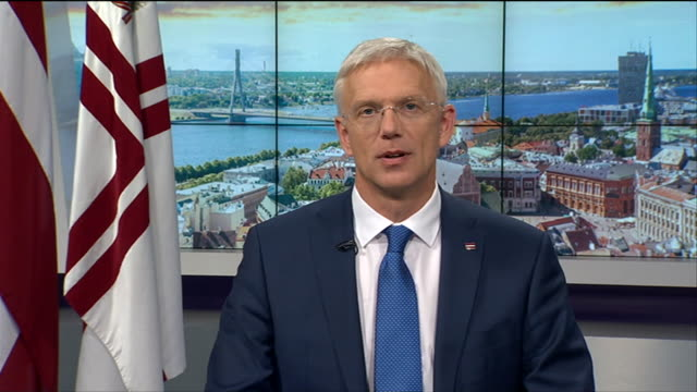 latvian prime minister krisjanis karins saying boris johnson's brexit proposals are a basis on which to negotiate - andrew marr stock videos & royalty-free footage