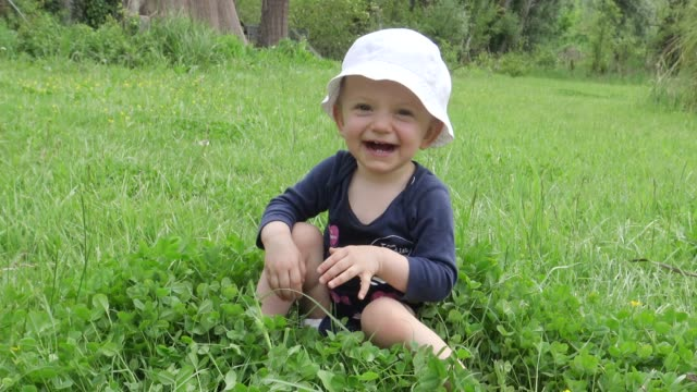 laughing baby girl crawling in grass on sunny summer day - babies only stock videos & royalty-free footage