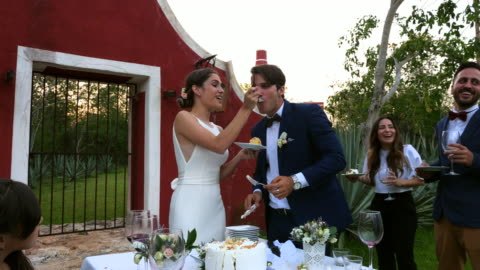 ms laughing bride feeding cake to groom during outdoor wedding reception - 30 39 years stock videos & royalty-free footage