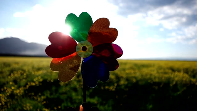 laughing girl holding a rainbow pinwheel toys - girandola video stock e b–roll
