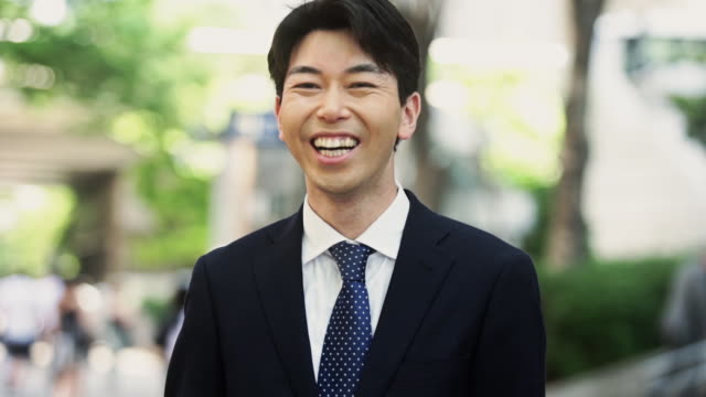 Laughing Japanese Businessman