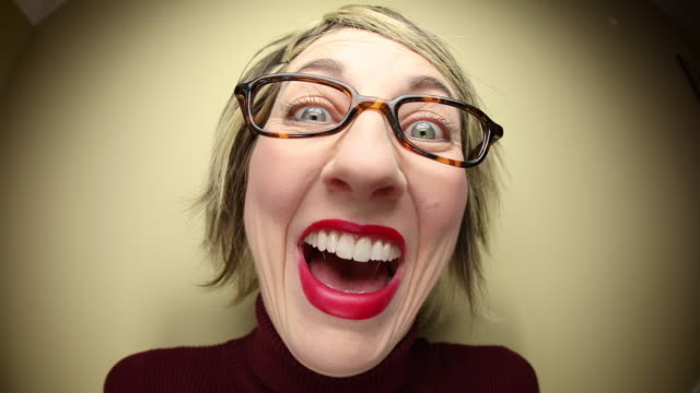 laughing nerdy woman - ugliness stock videos & royalty-free footage