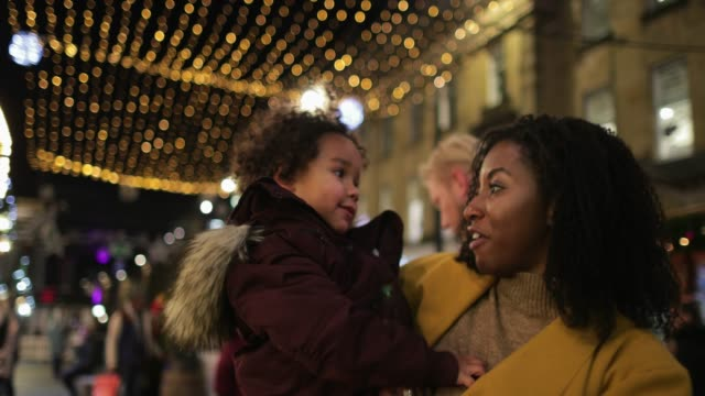 laughing under christmas lights - newcastle upon tyne stock videos & royalty-free footage