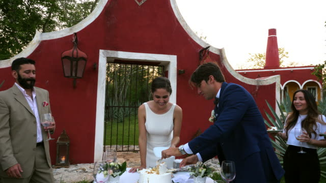 MS Laughing wedding guests watching bride and groom eat cake during outdoor wedding reception