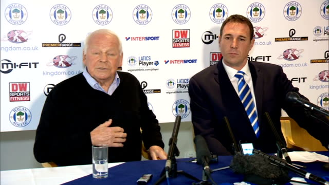 FA launch inquiry into Wigan Athletic owner Dave Whelan alleged racist comments / R19111402 INT Dave Whelan speaking at press conference unveiling...