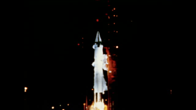 / launch of explorer 32 satellite into space delta rocket launches explorer 32 satellite on may 25 1966 in cape canaveral florida - 1966 stock videos & royalty-free footage