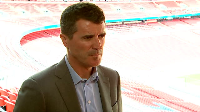 launch of itv's world cup coverage at wembley stadium roy keane interview sot / ian wright interview sot - ian wright stock videos and b-roll footage