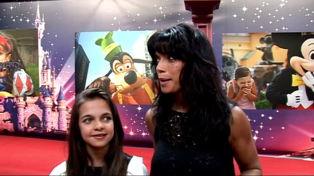 launch of magical moments festival at disneyland paris jenny powell and daughter connie interview sot talks about having and amazing and exhausting... - jenny powell stock videos & royalty-free footage