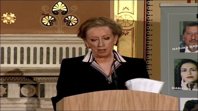 launch of the 2006 annual report on human rights margaret beckett speech prime among those insecurities are injustice and the abuse of power simply a... - white paper report stock videos and b-roll footage