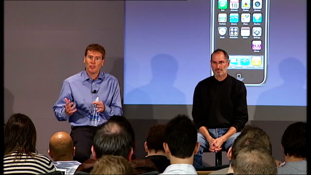 launch of the apple iphone matthew key press conference sot - 2007 stock videos & royalty-free footage