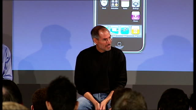 vídeos de stock e filmes b-roll de launch of the apple iphone steve jobs press conference sot on choosing to collaborate with 02 as mobile phone service provider - 2007