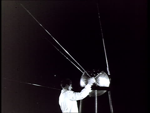 launching of the first sputnik in 1957. history of the russian space exploration and aeronautics. - 1957 stock-videos und b-roll-filmmaterial