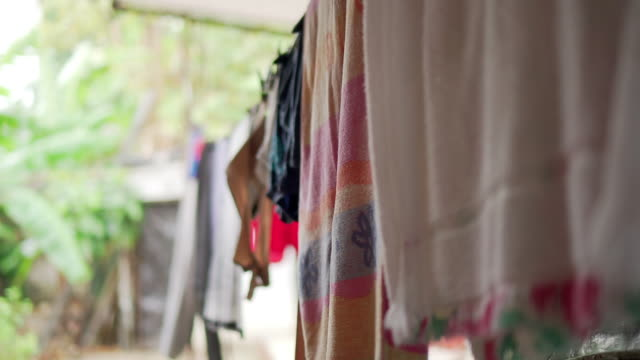 laundry hanging on line - washing line stock videos & royalty-free footage