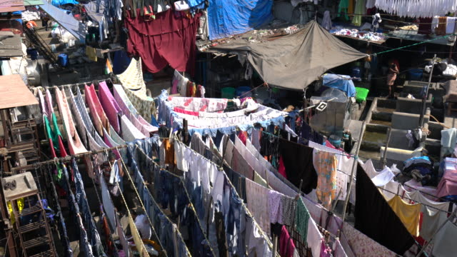laundry service district in mumbai india - slum stock videos & royalty-free footage
