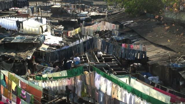 WS Laundrymen at dhobi ghat washing clothes in wash pens / Mumbai, India