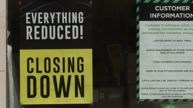 laura ashley store closing down posters on july 20, 2020 in london, englandhigh streets in the uk are expected to face large numbers of job cuts and... - buying stock videos & royalty-free footage