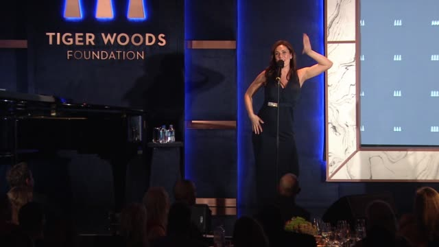 performance – laura benanti at tiger woods foundation event at new york public library on october 20 2016 in new york city - laura benanti stock videos and b-roll footage
