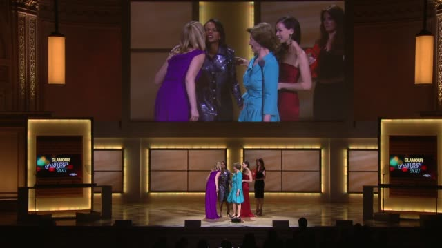 laura bush gives thanks for her lovely introduction at the glamour magazine's 21st annual women of the year awards at new york ny. - laura bush stock videos & royalty-free footage