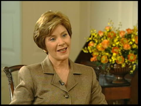 laura bush meets trevor mcdonald; itn usa: washington dc: white house: int laura bush interview sot - he did quit drinking when he was forty but he... - laura bush stock videos & royalty-free footage