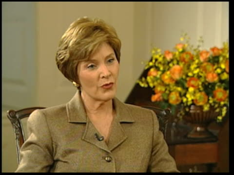laura bush meets trevor mcdonald; itn usa: washington dc: white house: int laura bush interview sot - sure, absolutely, that's the great thing about... - laura bush stock videos & royalty-free footage