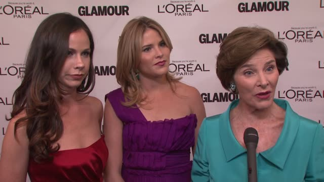 laura bush on being here with her two daughters and how proud she is at the glamour magazine's 21st annual women of the year awards at new york ny. - laura bush stock videos & royalty-free footage
