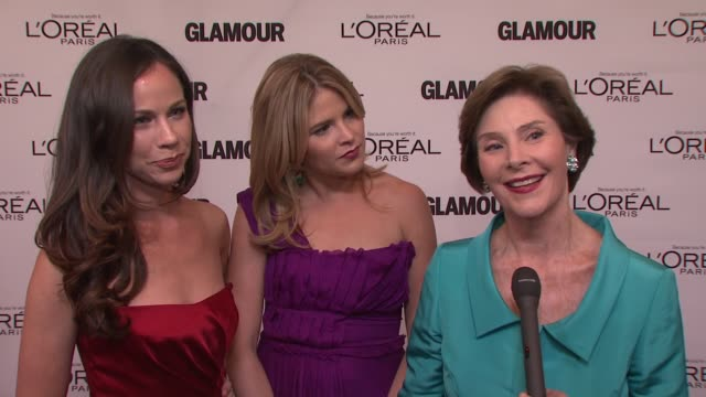 laura bush on her two competent little girls at the glamour magazine's 21st annual women of the year awards at new york ny. - laura bush stock videos & royalty-free footage