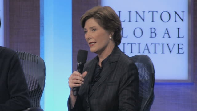 laura bush talking on microphone during annual clinton global initiative / new york city, new york, usa / audio - laura bush stock videos & royalty-free footage