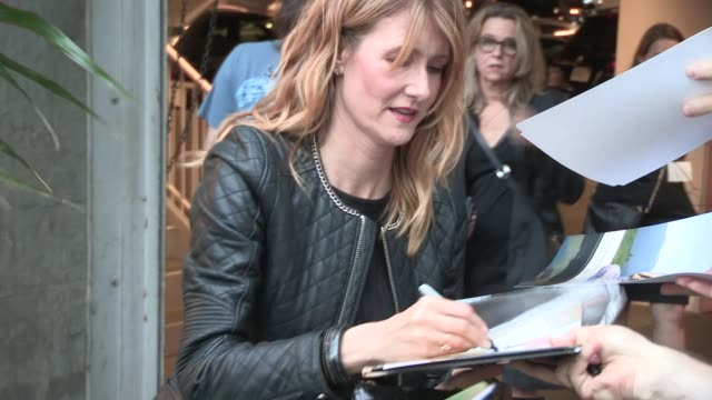 laura dern greeting fans at the just before i go screening in hollywood in celebrity sightings in los angeles - celebrity sightings stock videos & royalty-free footage