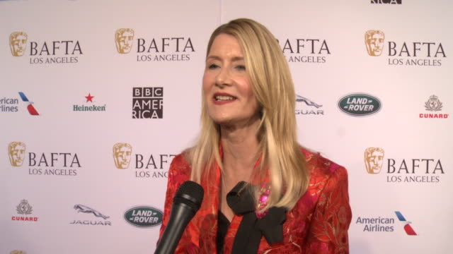 laura dern on what sets this event apart from others this weekend, on what was your experience like working on marriage story at the 2020 bafta tea... - laura dern stock videos & royalty-free footage