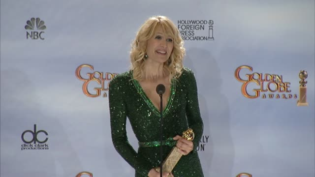 laura dern on what she collects aside from awards at 69th annual golden globe awards - press room on 1/15/2012 in beverly hills, ca. - laura dern stock videos & royalty-free footage
