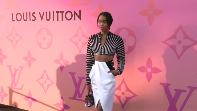 laura harrier at louis vuitton x opening cocktail on june 27, 2019 in beverly hills, california. - ブランド ルイヴィトン点の映像素材/bロール