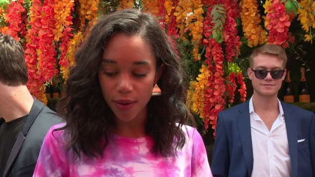 interview laura harrier at the 11th annual veuve clicquot polo classic at liberty state park on june 02 2018 in jersey city new jersey - interview stock videos & royalty-free footage