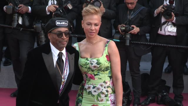laura harrier director spike lee and wife on the red carpet of the 2018 cannes film festival closing ceremony cannes france 19th may 2018 - 71st international cannes film festival stock videos & royalty-free footage