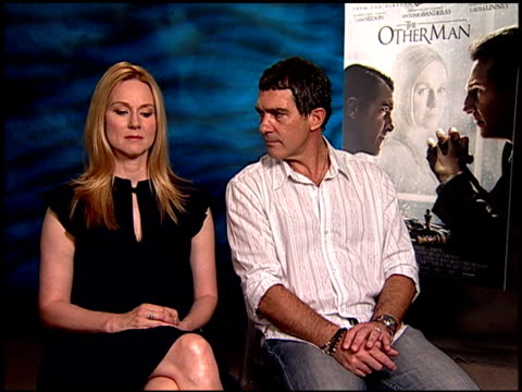 Laura Linney and Antonio Banderas on their characters and how they relate to each other at the 'The Other Man' Junket at Beverly Hills CA