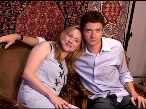 laura linney and topher grace at the hp portrait studio presented by wireimage and kontent publishing at intercontinental in toronto, ontario on... - topher grace stock videos & royalty-free footage