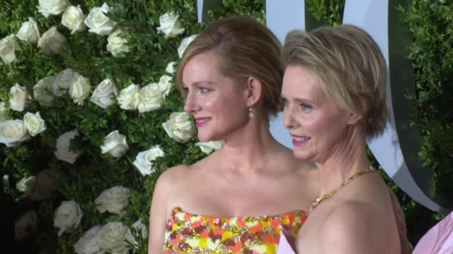 laura linney cynthia nixon at 2017 tony awards red carpet at radio city music hall on june 11 2017 in new york city - cynthia nixon stock videos and b-roll footage