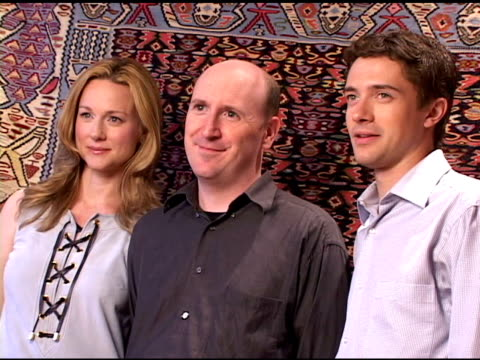 laura linney, dylan kidd and topher grace at the hp portrait studio presented by wireimage and kontent publishing at intercontinental in toronto,... - topher grace stock videos & royalty-free footage