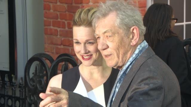laura linney ian mckellen at mr holmes uk film premiere at odeon kensington on june 10 2015 in london england - ian mckellen stock videos and b-roll footage