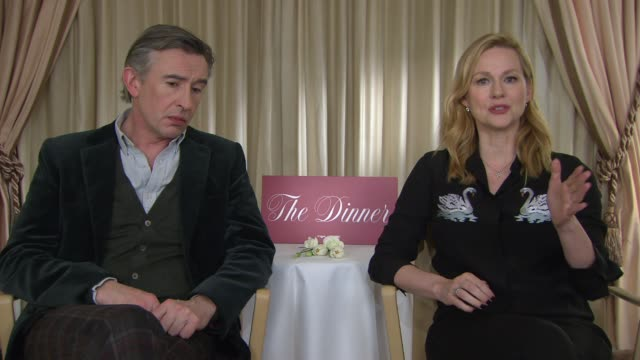 laura linney, steve coogan on her character at berlin film festival: 'the dinner' - interviews at berlinale palast on february 10, 2017 in berlin,... - steve coogan stock videos & royalty-free footage