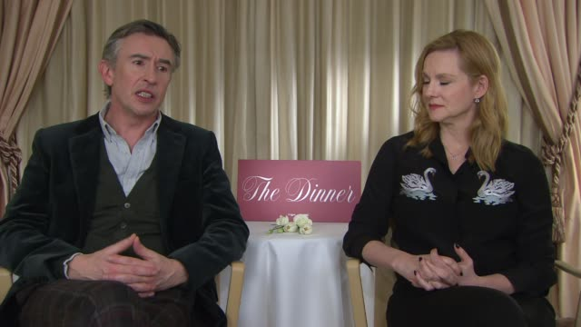 laura linney, steve coogan on his character at berlin film festival: 'the dinner' - interviews at berlinale palast on february 10, 2017 in berlin,... - steve coogan stock videos & royalty-free footage