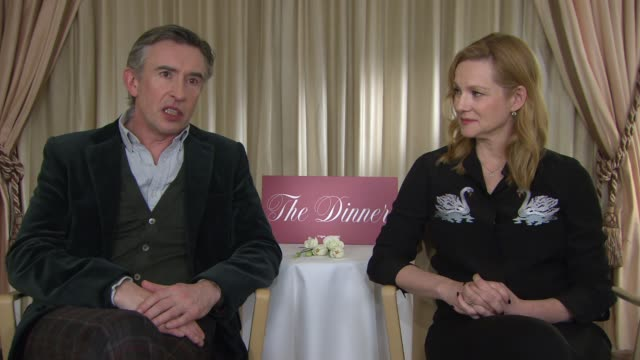 laura linney, steve coogan on the relationships between characters and on the plot at berlin film festival: 'the dinner' - interviews at berlinale... - steve coogan stock videos & royalty-free footage