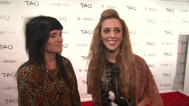 laura musten and kelsey kopecky on releasing their music through google music and on their sound at tmobile presents google music at tao day 4 in... - google brand name stock videos and b-roll footage