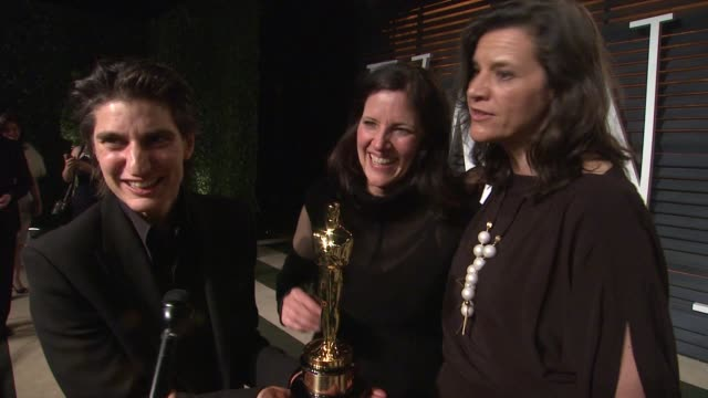 interview laura poitras at the 2015 vanity fair oscar party hosted by graydon carter at wallis annenberg center for the performing arts on february... - wallis annenberg center for the performing arts stock videos and b-roll footage