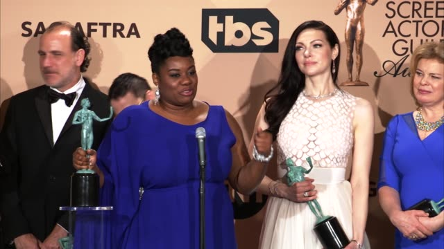 interview laura prepon orange is the new black cast at 22nd annual screen actors guild awards press room in los angeles ca - cast member stock videos & royalty-free footage