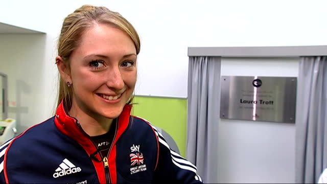 laura trott opens 'laura trott leisure centre' in cheshunt laura trott unveiling plaque and being presented with flowers laura trott obe interview... - tour of britain stock videos & royalty-free footage