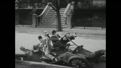 1931 laurel & hardy pull up in front of house just as car falls apart - slapstick comedy stock videos & royalty-free footage